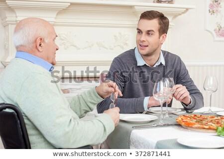 üzletember · vacsora · portré · vagyonos · étterem · kezek - stock fotó © photography33