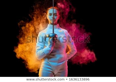 Dziewczyna ogrodzenie kostium dziecko tle metal Zdjęcia stock © zzve