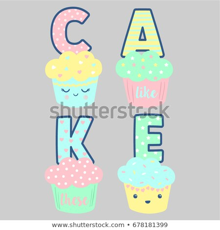 cute cupcake designs vector set stock photo © beaubelle