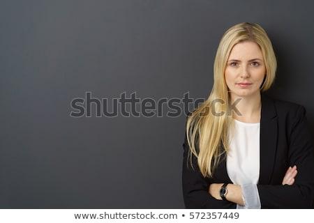 ciddi · genç · kadın · gri · iş · takım · elbise · konuşma - stok fotoğraf © acidgrey