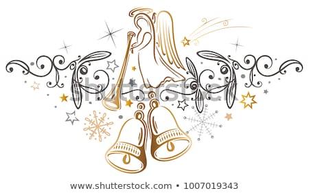 angyal · harang · arany · karácsonyfa · üveg · háttér - stock fotó © oneinamillion