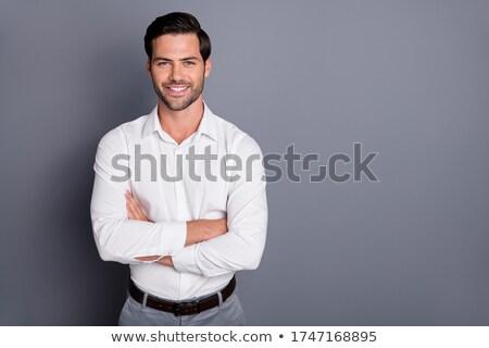giovani · bello · uomo · d'affari · abito · nero · bianco · business - foto d'archivio © feedough