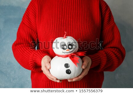 Genç kız küçük kardan adam eller el yüz Stok fotoğraf © graphit