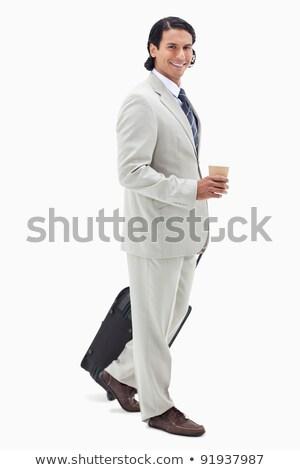 вид · сбоку · бизнесмен · кофе · сумку · белый · фон - Сток-фото © wavebreak_media