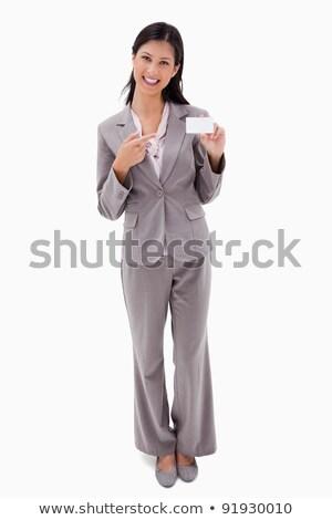 笑みを浮かべて 女性実業家 ポインティング 名前 バッジ 白 ストックフォト © wavebreak_media
