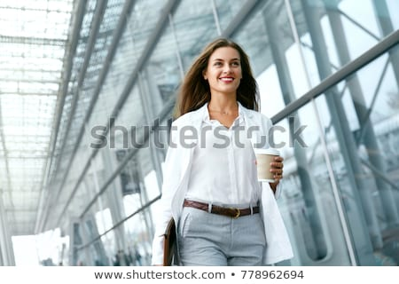 Foto stock: Young Happy Woman Holding White Coffee Cup