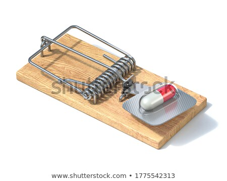 Mousetrap With A Pill On White Background Stock fotó © djmilic