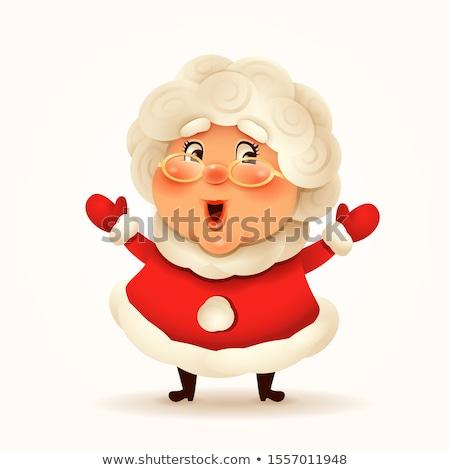 Christmas Granny Lady - Cartoon Character - Vector Illustration stock photo © indiwarm