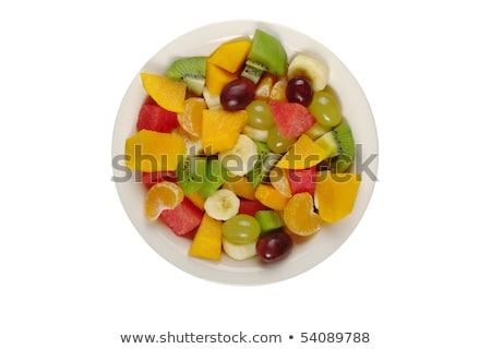 Narancs dinnye mangó előkészítés gyümölcssaláta szeletek Stock fotó © TheFull360