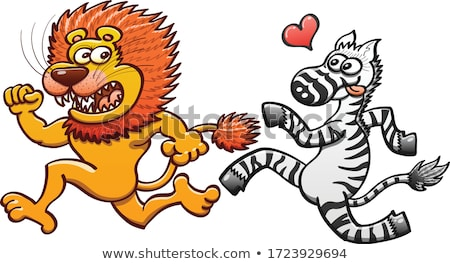 Lion Cartoon With Red Heart Foto stock © zooco