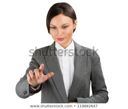 ビジネス女性 ポインティング 指 虚数 バーチャル ボタン ストックフォト © HASLOO