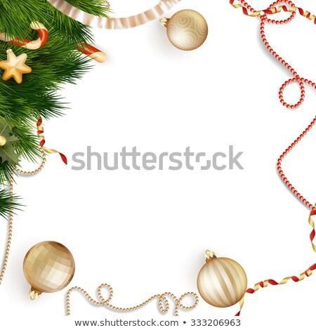 Christmas baubles on red sparkly. EPS 10 Stock photo © beholdereye