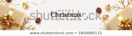 Karácsony szalag négy függőleges zöld bannerek Stock fotó © WaD