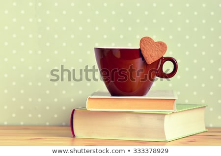 stacked heart shaped cookies and cup of coffee copyspace stock photo © avdveen