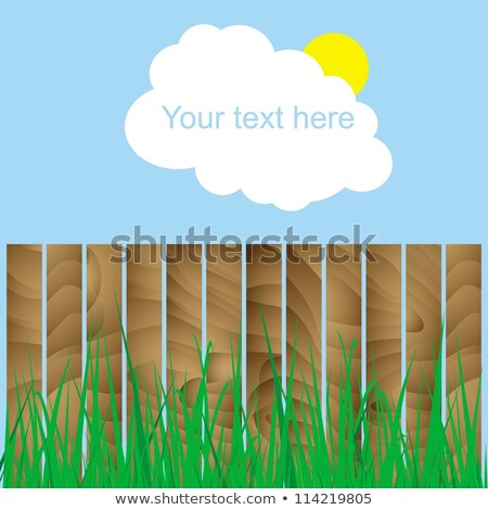 fence, wood, grass, cloud, sun, sign here your text Stock photo © anna_tseliuba