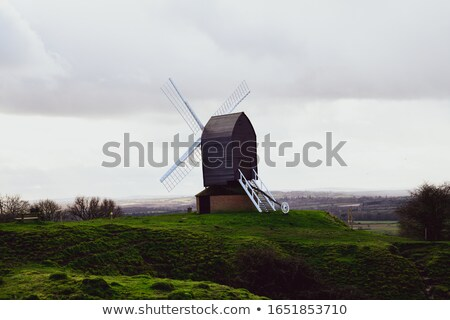 wooden windmill rear view stock photo © borysshevchuk