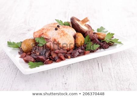 Gekookt vlees kastanje champignons restaurant plaat Stockfoto © M-studio