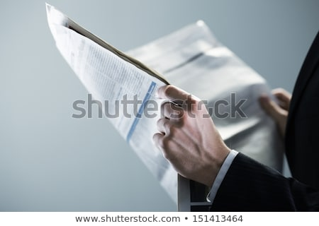 homem · leitura · jornal · jovem · caucasiano · feliz - foto stock © zzve