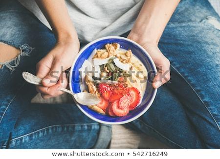 Sağlıklı kahvaltı şeftali kavun cam süt Stok fotoğraf © doupix