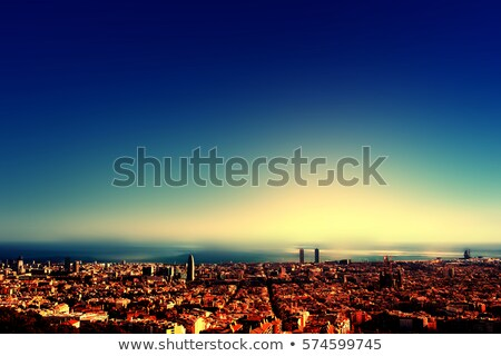 Beautiful sunset on National Museum in Barcelona, Spain Stock photo © artjazz