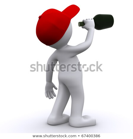 Drunk 3d character  with green bottle Stock photo © Kirill_M