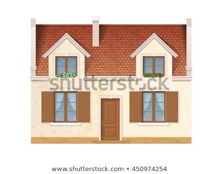 rosso · mattone · costruzione · facciata · legno - foto d'archivio © rglinsky77