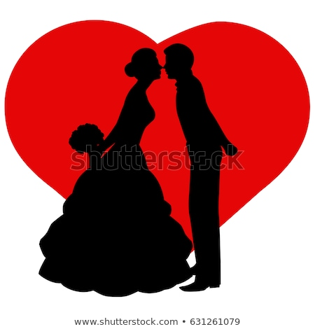 bride and groom with red heart, vector Stock photo © beaubelle