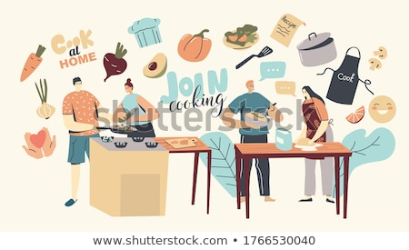 woman is cooking meal in the kitchen stock photo © lordalea
