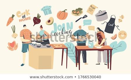 Stok fotoğraf: Adın · mutfakta · yemek · pişiriyor