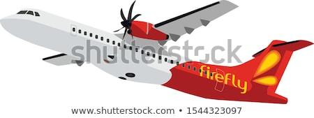 Stockfoto: Vector · iconen · vliegtuigen · witte · hemel · achtergrond