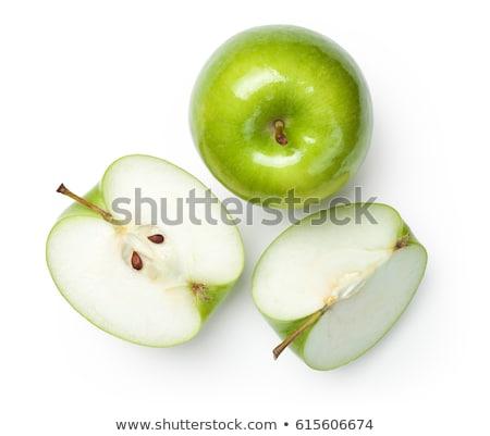 Három zöld almák friss csetepaté fehér Stock fotó © dezign56