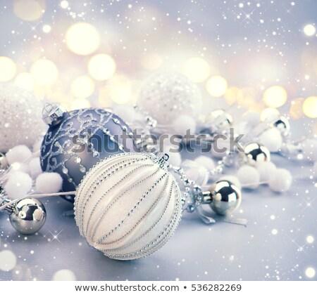 Ezüst karácsony csecsebecse fa hó csillámlás Stock fotó © juniart