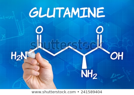 Hand with pen drawing the chemical formula of glutamine Stock photo © Zerbor