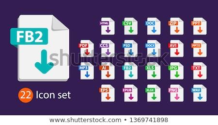 Pdf документа зеленый вектора икона кнопки Сток-фото © rizwanali3d