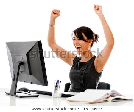 gelukkig · vrouw · vieren · overwinning · armen · omhoog - stockfoto © hasloo