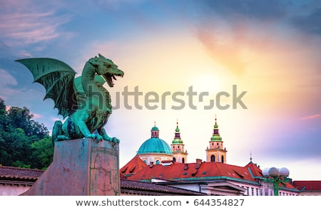 Dragon bridge, Ljubljana, Slovenia, Europe. Stock photo © kasto