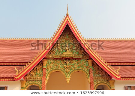 Tempel dak detail Laos kleurrijk Stockfoto © jeayesy