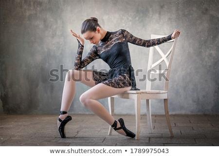 Fiatal nő ül szék balett póz fiatal Stock fotó © maros_b