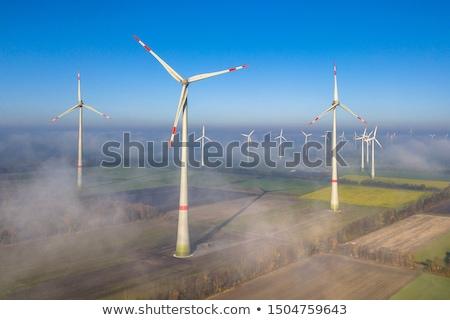 windturbines in the fog stock photo © hofmeester