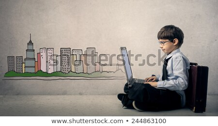 Gyerekek internet világ modern számítógépek multimédia Stock fotó © vectorikart