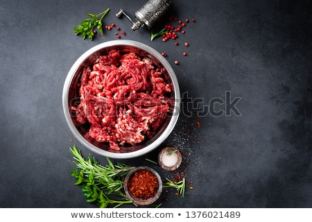 Raw Minced Hamburger Meat with Herb and Spice Stock photo © Kayco