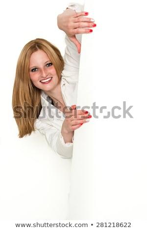 signo · personas · mujer · cartel · papel · anunciante - foto stock © uleiber