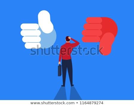 üzletember · hüvelykujjak · lefelé · felirat · kéz · férfiak - stock fotó © wavebreak_media