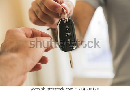 Kulcs slusszkulcs gyűrű asztal vágási körvonal fa Stock fotó © idesign