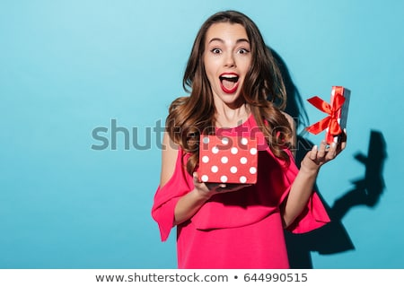 woman and red box surprise stock photo © lubavnel