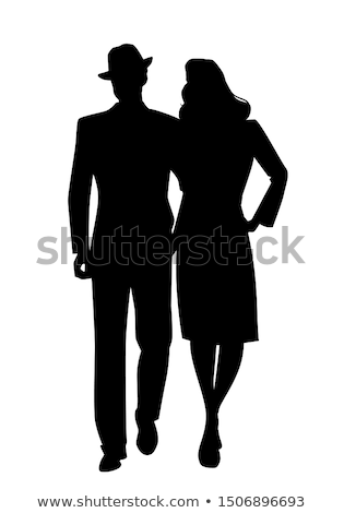 couple silhouette walking Stock photo © illustrart