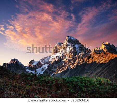 hegy · tájkép · csúcs · felhők · kunyhó · ősz - stock fotó © kotenko