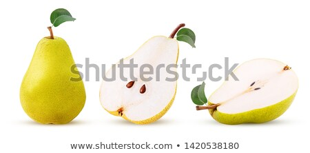 Stok fotoğraf: Bütün · yarım · sarı · armut · yaprakları · yaprak