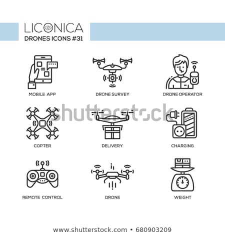 Drone Delivery Icon. Flat Design. Stock photo © WaD