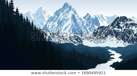 Tibet snow mountain with river Stock photo © paulwongkwan